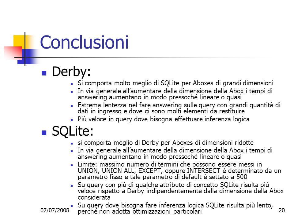 Conclusioni Derby: SQLite: