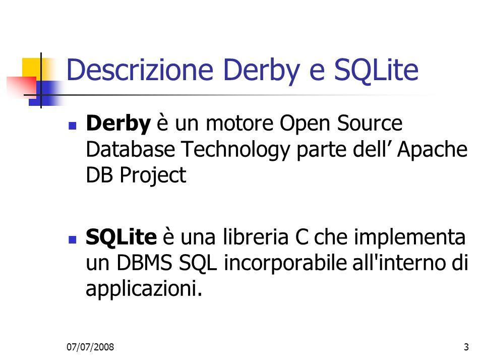 Descrizione Derby e SQLite