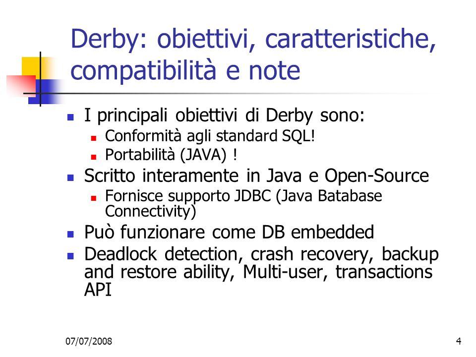 Derby: obiettivi, caratteristiche, compatibilità e note