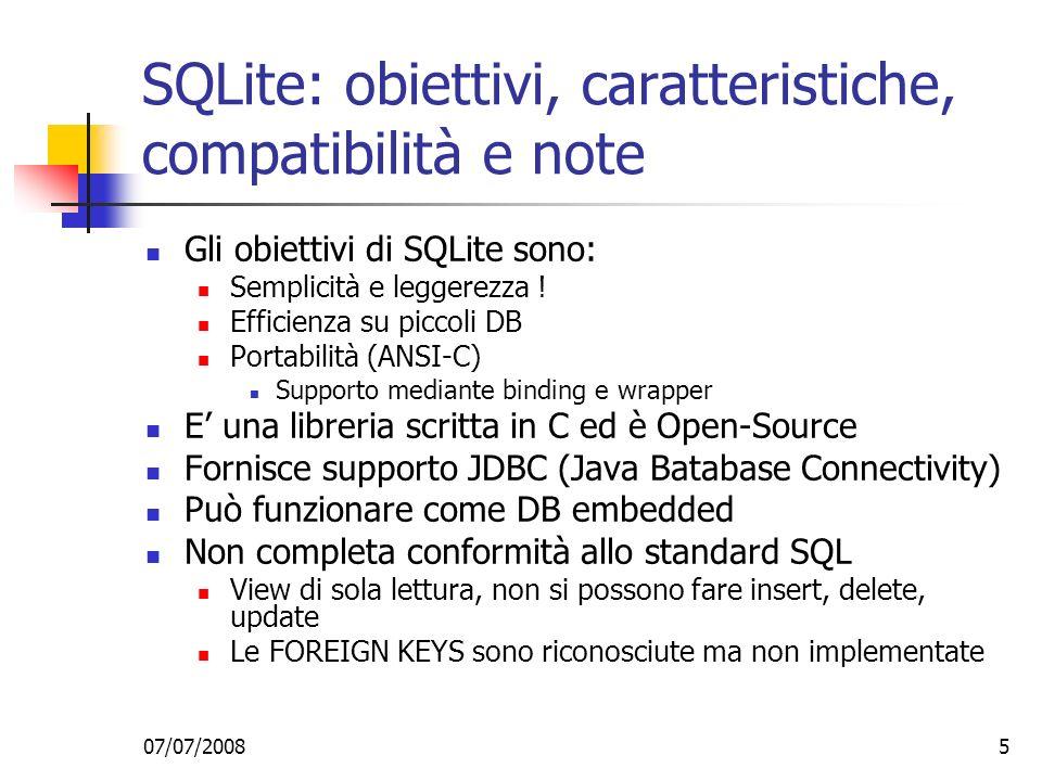 SQLite: obiettivi, caratteristiche, compatibilità e note