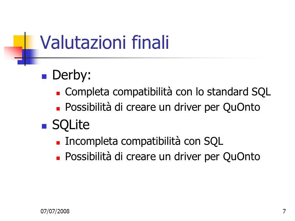 Valutazioni finali Derby: SQLite