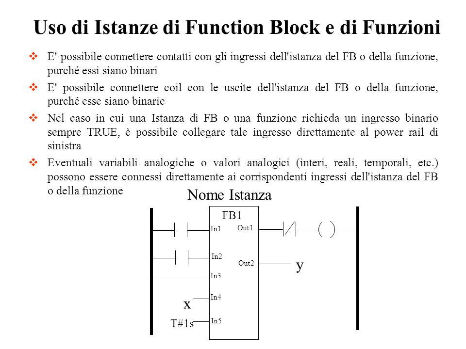 Uso di Istanze di Function Block e di Funzioni