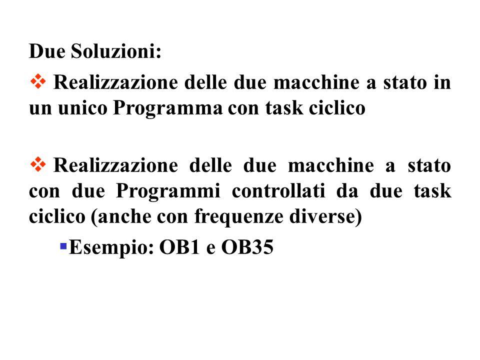 Due Soluzioni:Realizzazione delle due macchine a stato in un unico Programma con task ciclico.