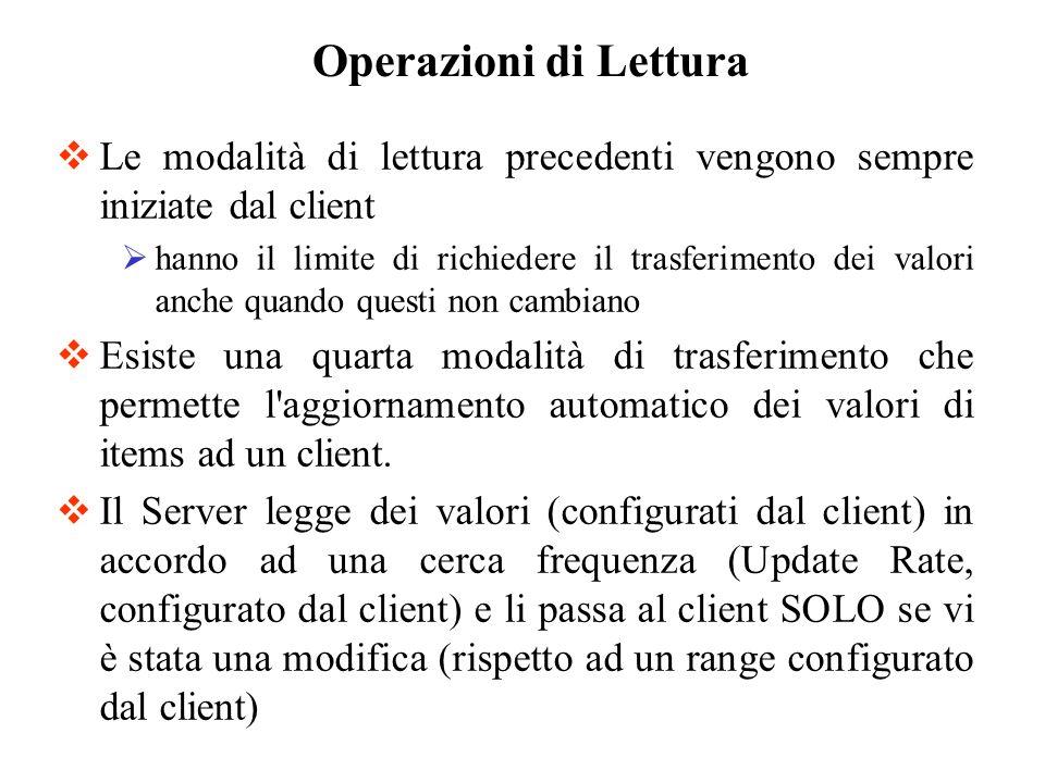 Operazioni di Lettura Le modalità di lettura precedenti vengono sempre iniziate dal client.