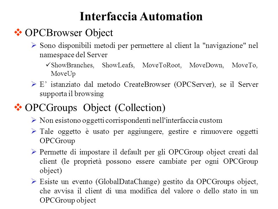 Interfaccia Automation