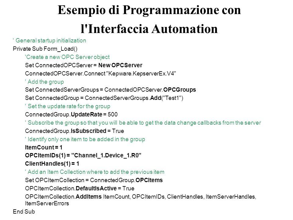 Esempio di Programmazione con
