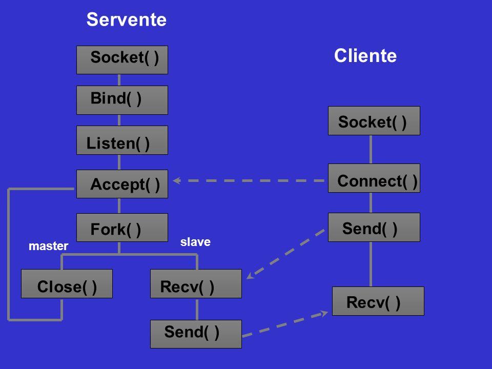Servente Cliente Socket( ) Bind( ) Listen( ) Accept( ) Fork( )
