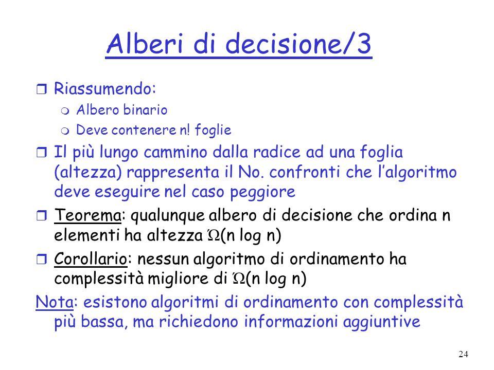 Alberi di decisione/3 Riassumendo: