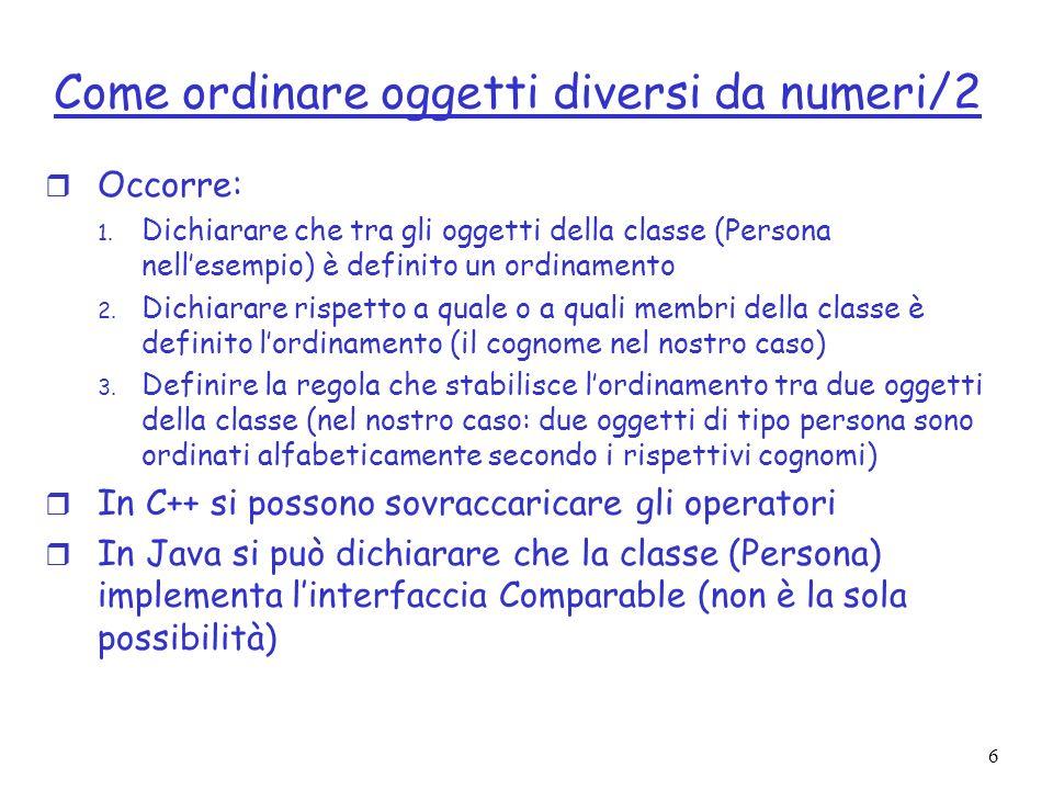 Come ordinare oggetti diversi da numeri/2