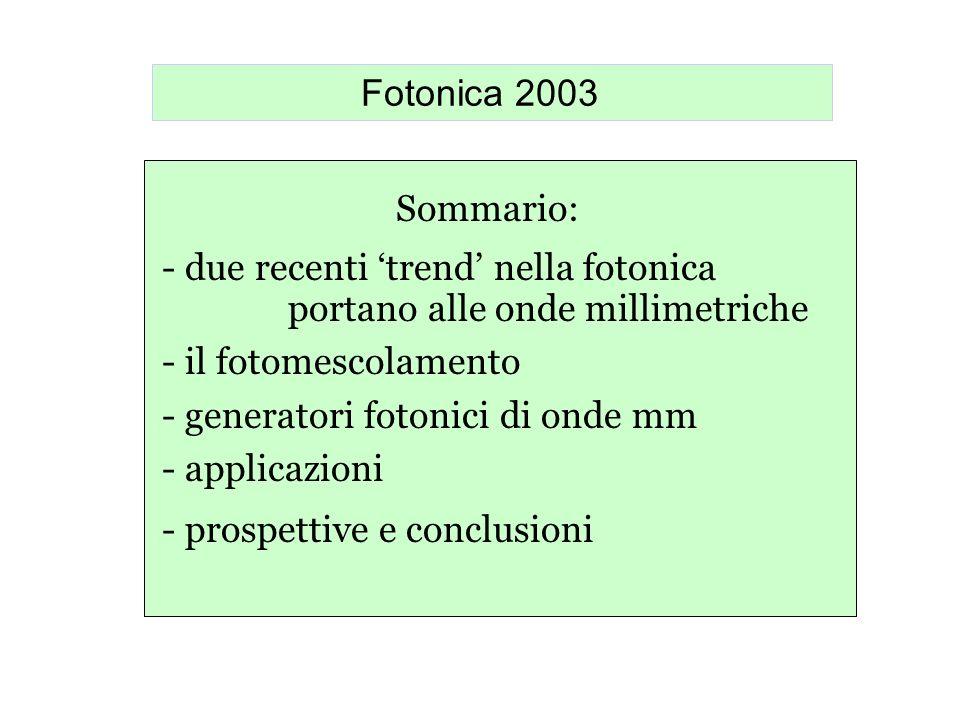 Fotonica 2003 Sommario: - due recenti 'trend' nella fotonica. portano alle onde millimetriche. - il fotomescolamento.