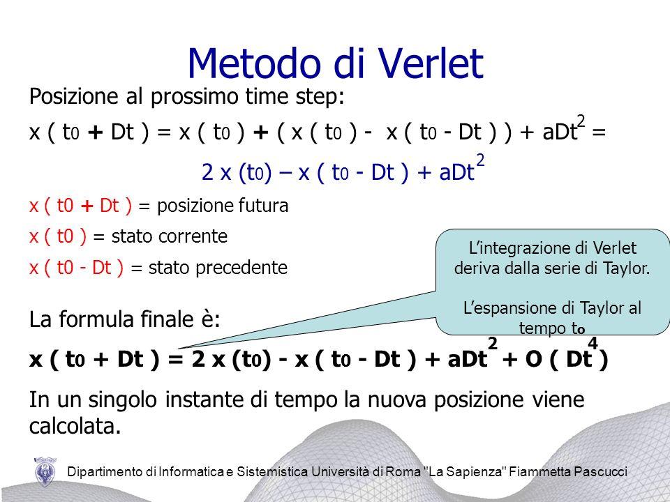 Metodo di Verlet Posizione al prossimo time step: