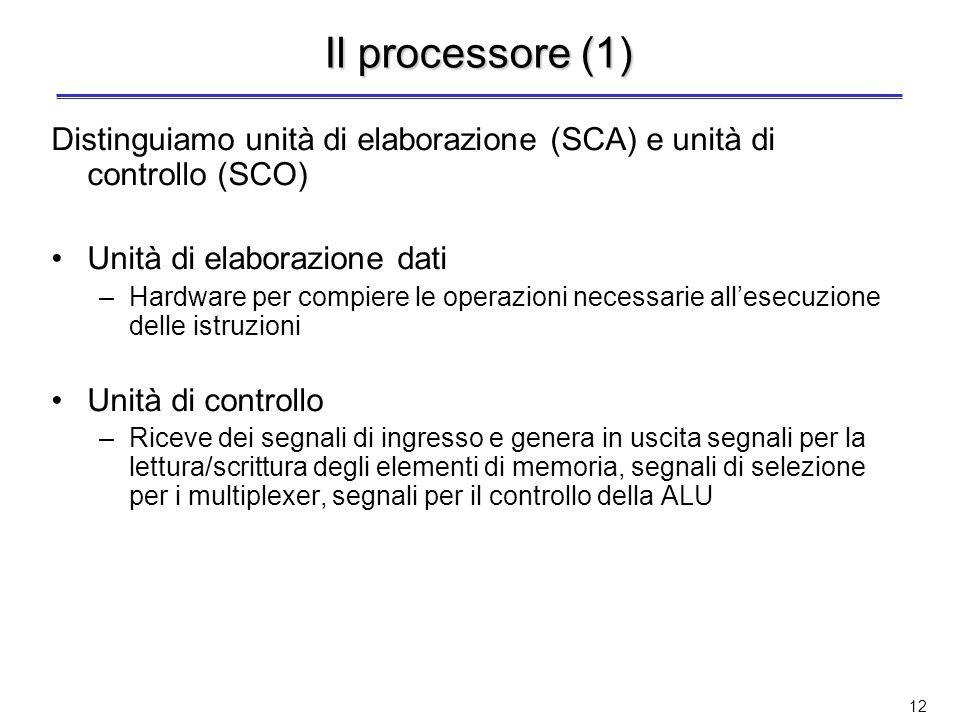 Il processore (1) Distinguiamo unità di elaborazione (SCA) e unità di controllo (SCO) Unità di elaborazione dati.