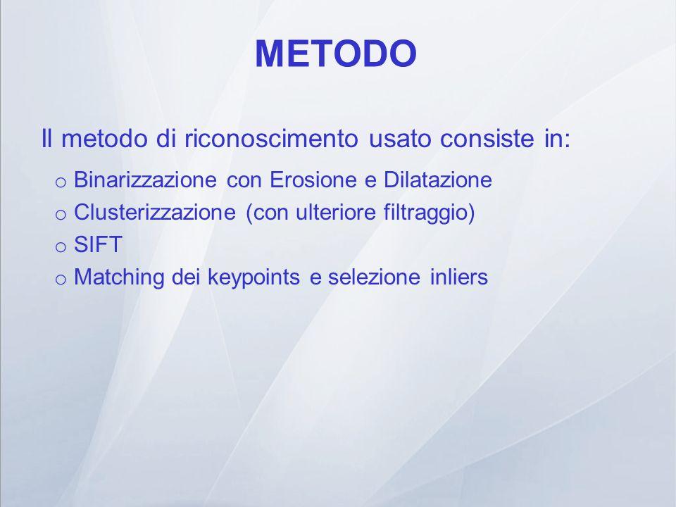METODO Il metodo di riconoscimento usato consiste in:
