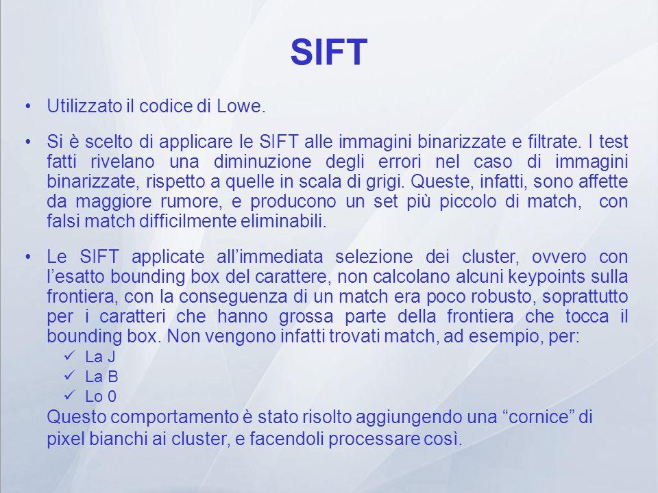 SIFT Utilizzato il codice di Lowe.