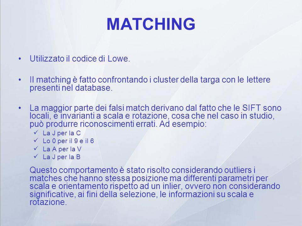 MATCHING Utilizzato il codice di Lowe.
