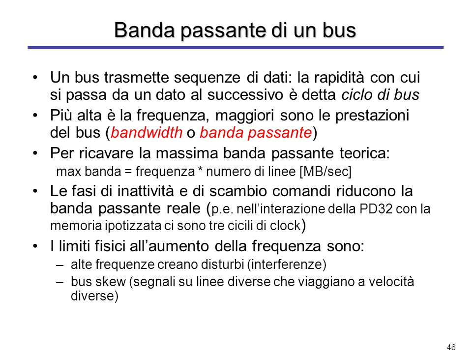 Banda passante di un bus