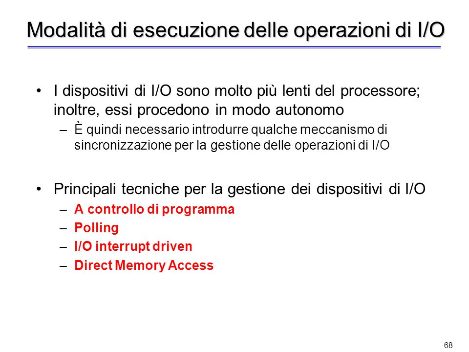 Modalità di esecuzione delle operazioni di I/O