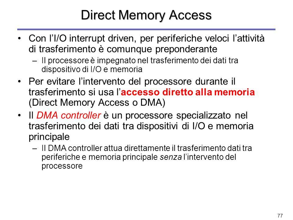 Direct Memory Access Con l'I/O interrupt driven, per periferiche veloci l'attività di trasferimento è comunque preponderante.