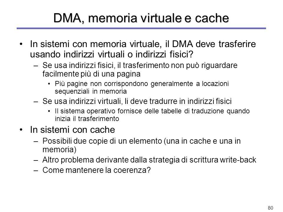 DMA, memoria virtuale e cache