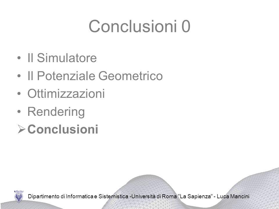 Conclusioni 0 Il Simulatore Il Potenziale Geometrico Ottimizzazioni