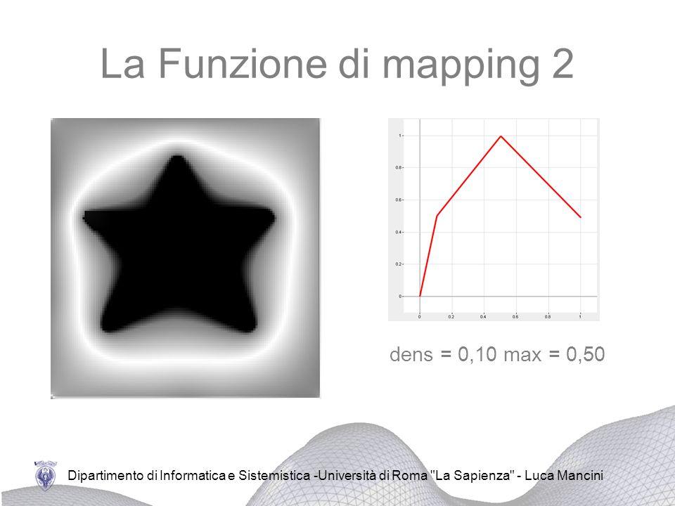 La Funzione di mapping 2 dens = 0,10 max = 0,50 dens = 0,25 max = 0,60