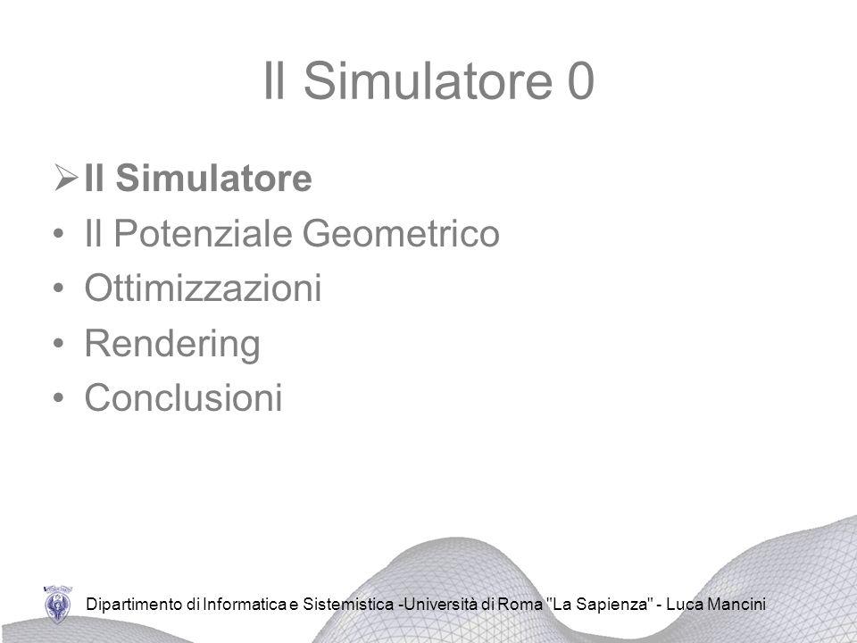 Il Simulatore 0 Il Simulatore Il Potenziale Geometrico Ottimizzazioni