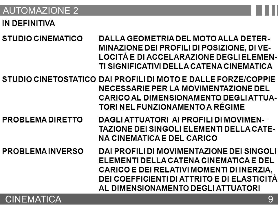 AUTOMAZIONE 2 CINEMATICA 9 IN DEFINITIVA STUDIO CINEMATICO