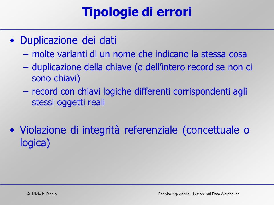 Tipologie di errori Duplicazione dei dati