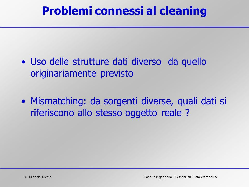 Problemi connessi al cleaning