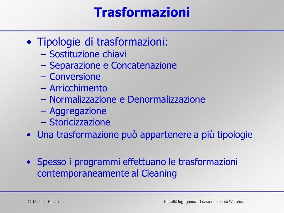 Trasformazioni Tipologie di trasformazioni: Sostituzione chiavi