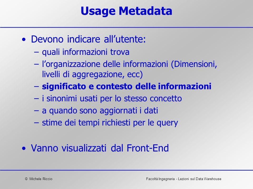 Usage Metadata Devono indicare all'utente: