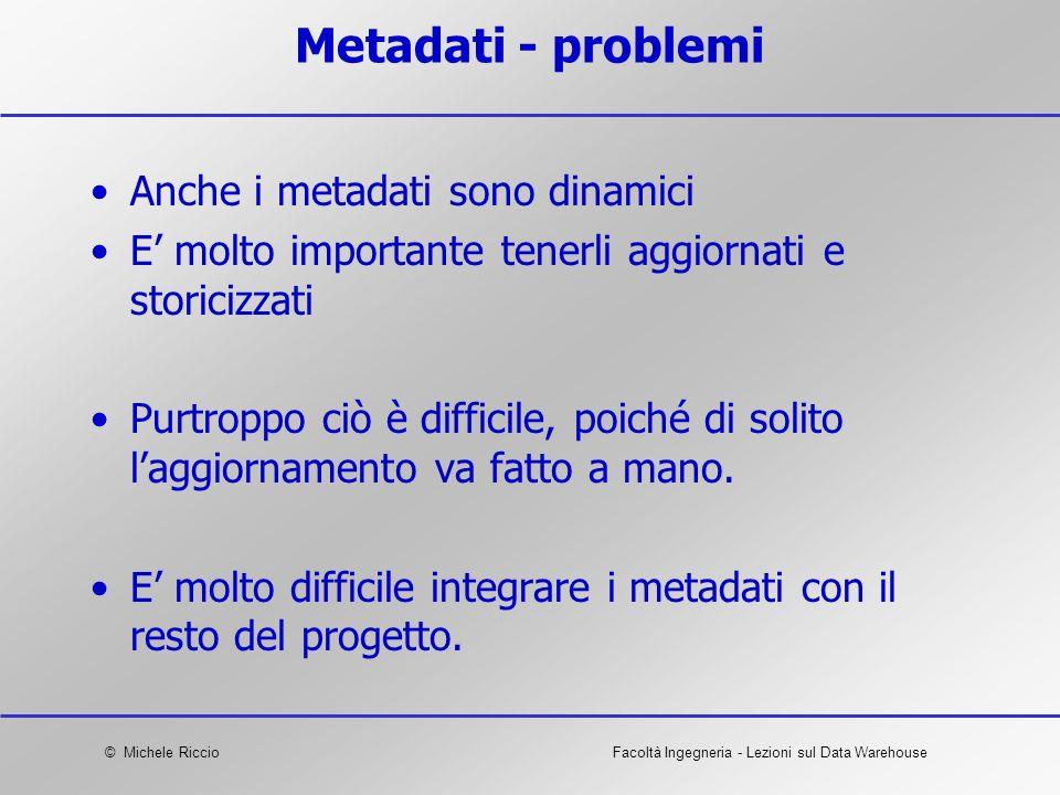 Metadati - problemi Anche i metadati sono dinamici