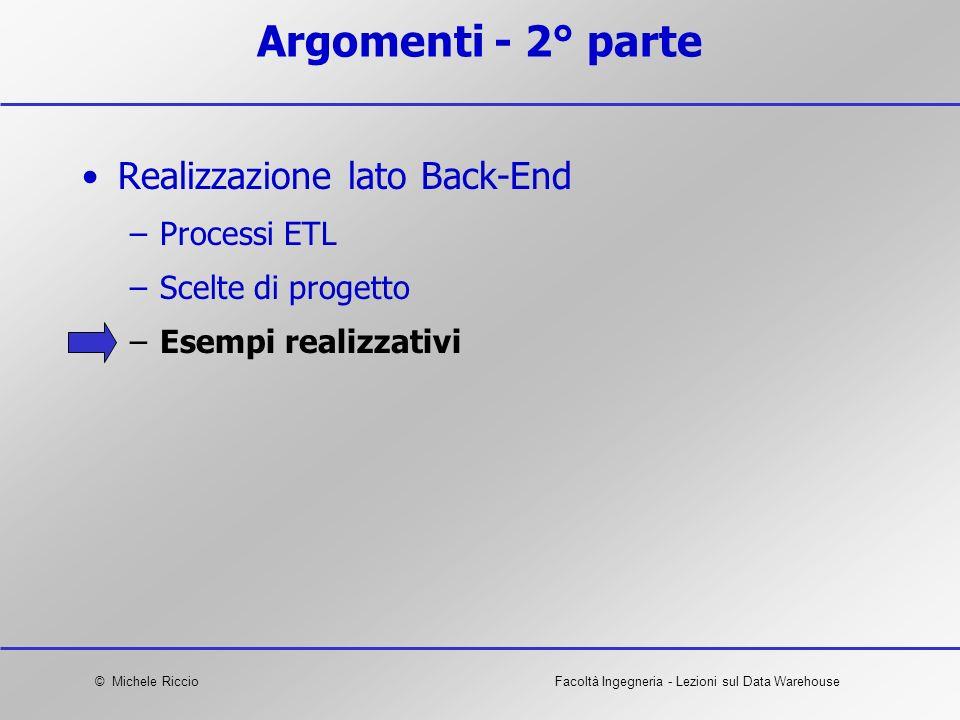 Argomenti - 2° parte Realizzazione lato Back-End Processi ETL