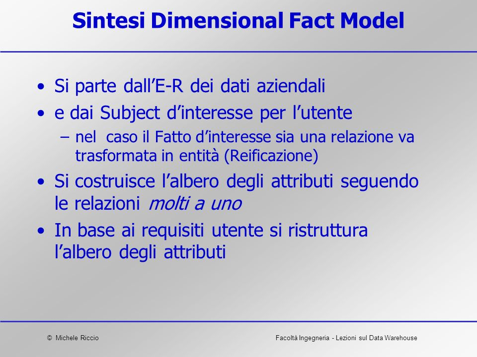 Sintesi Dimensional Fact Model