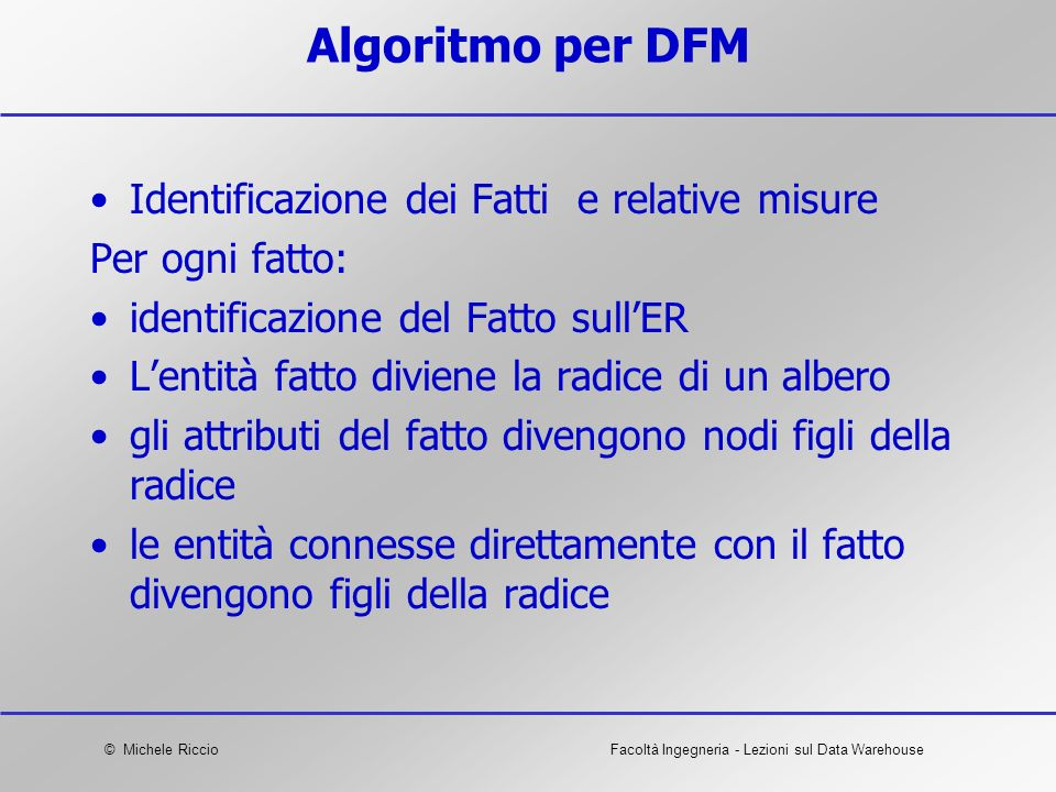 Algoritmo per DFM Identificazione dei Fatti e relative misure