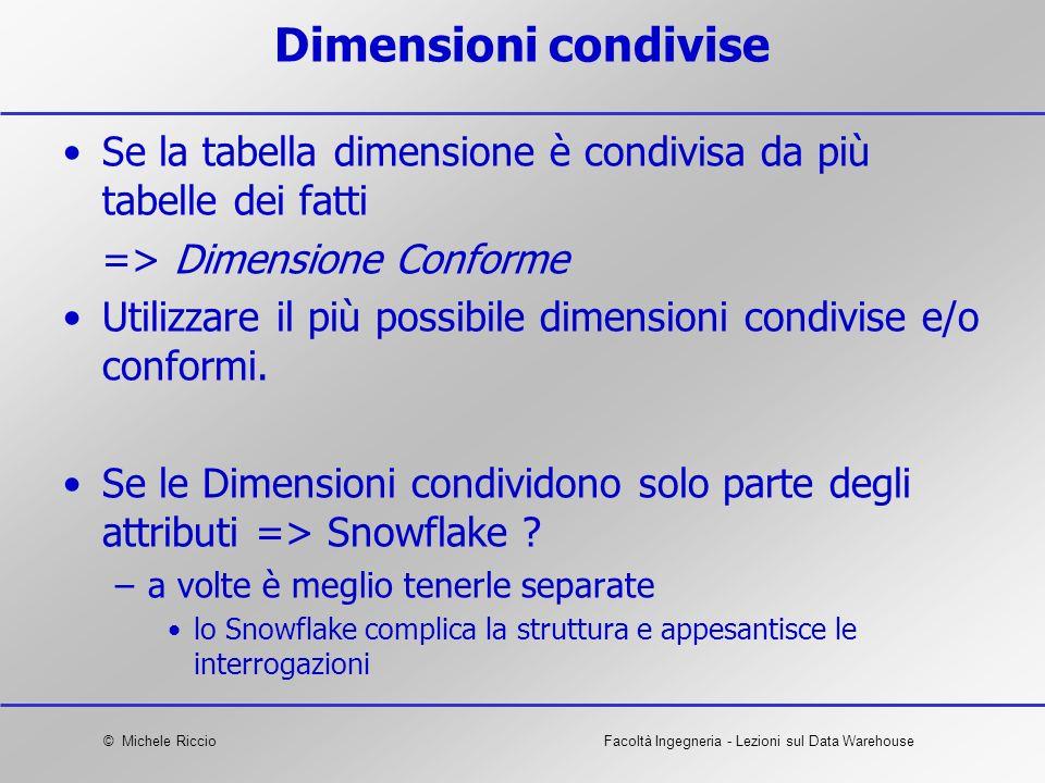 Dimensioni condivise Se la tabella dimensione è condivisa da più tabelle dei fatti. => Dimensione Conforme.