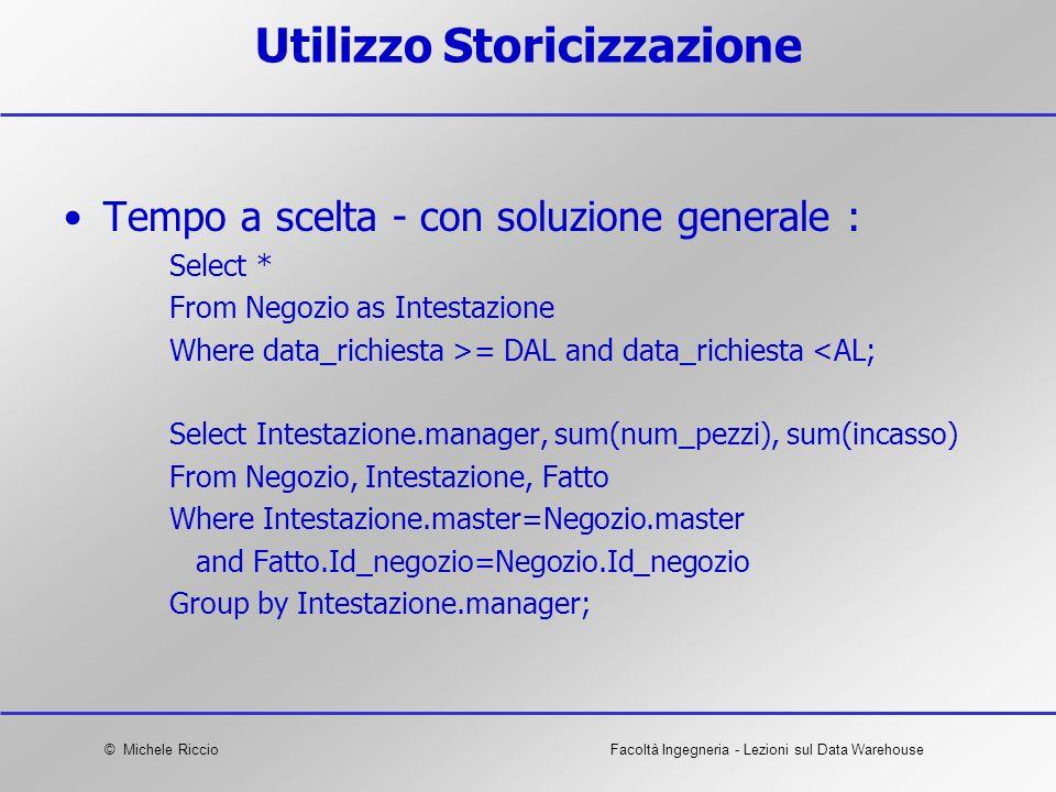 Utilizzo Storicizzazione