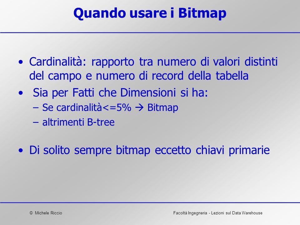 Quando usare i Bitmap Cardinalità: rapporto tra numero di valori distinti del campo e numero di record della tabella.