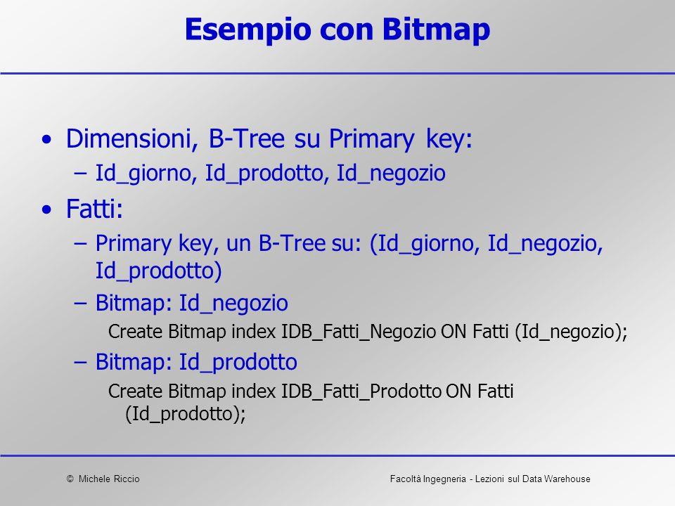 Esempio con Bitmap Dimensioni, B-Tree su Primary key: Fatti: