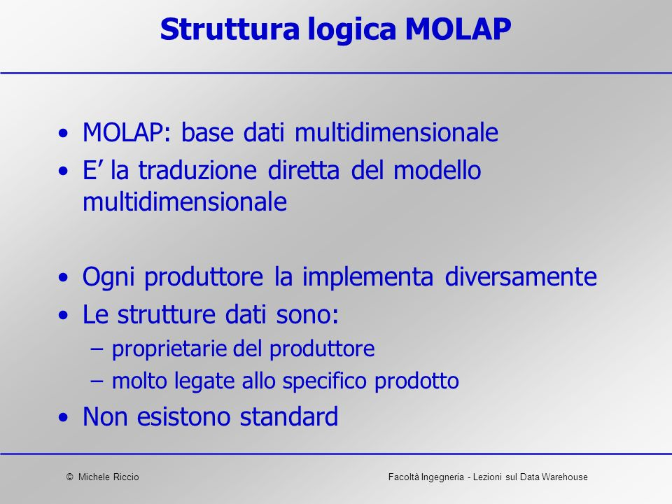 Struttura logica MOLAP