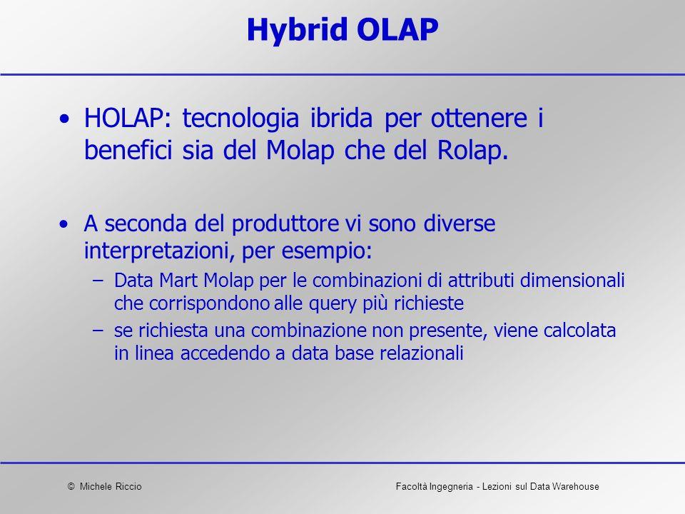 Hybrid OLAP HOLAP: tecnologia ibrida per ottenere i benefici sia del Molap che del Rolap.