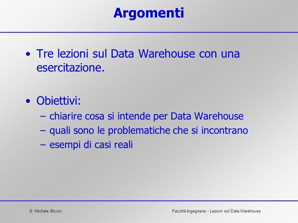 Argomenti Tre lezioni sul Data Warehouse con una esercitazione.