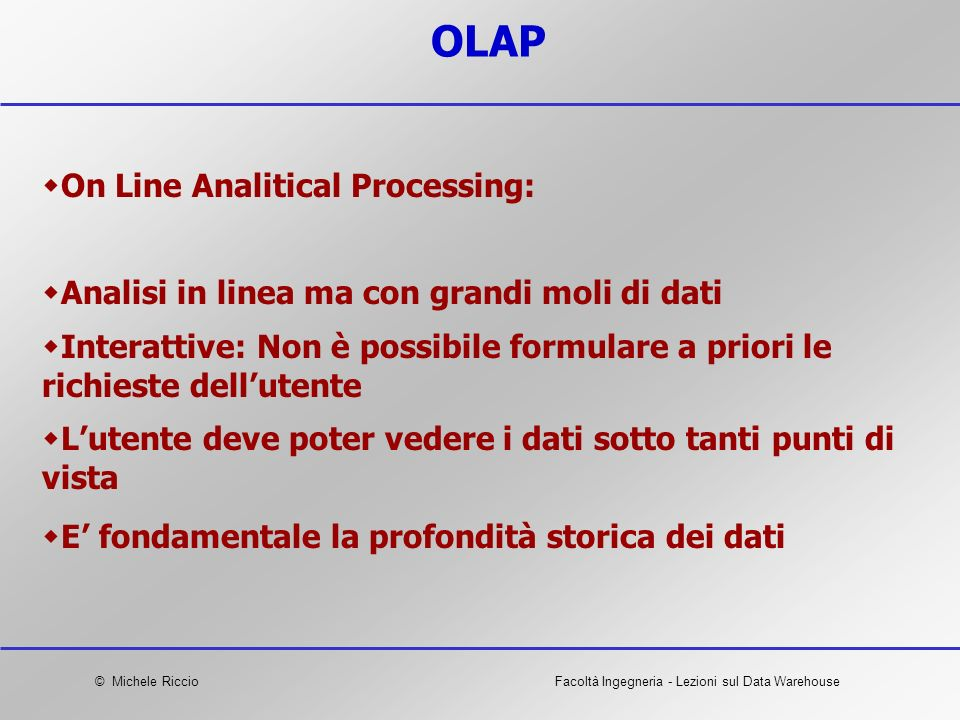 OLAP On Line Analitical Processing: