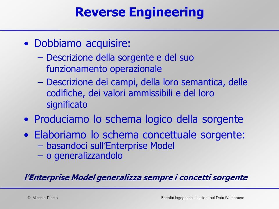 Reverse Engineering Dobbiamo acquisire: