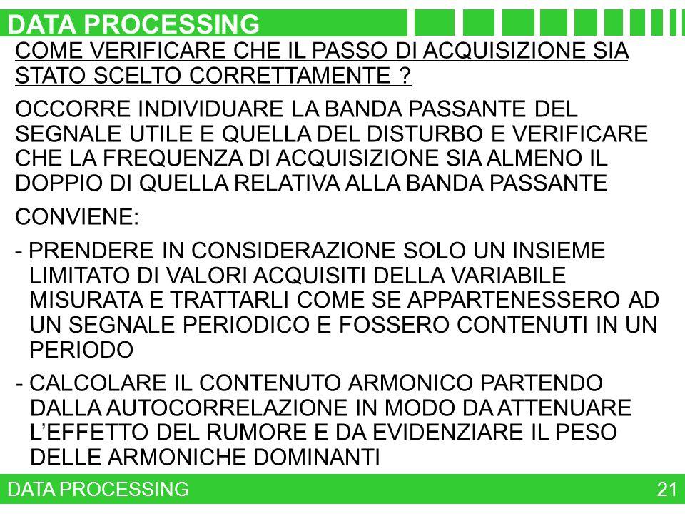 DATA PROCESSING COME VERIFICARE CHE IL PASSO DI ACQUISIZIONE SIA STATO SCELTO CORRETTAMENTE