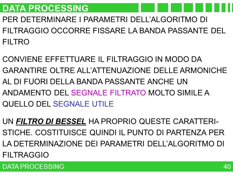 DATA PROCESSING PER DETERMINARE I PARAMETRI DELL'ALGORITMO DI FILTRAGGIO OCCORRE FISSARE LA BANDA PASSANTE DEL FILTRO.