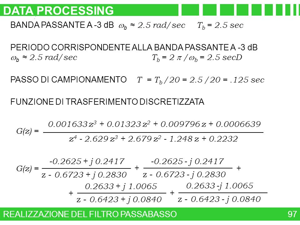 DATA PROCESSING BANDA PASSANTE A -3 dB wb ≈ 2.5 rad/sec Tb = 2.5 sec