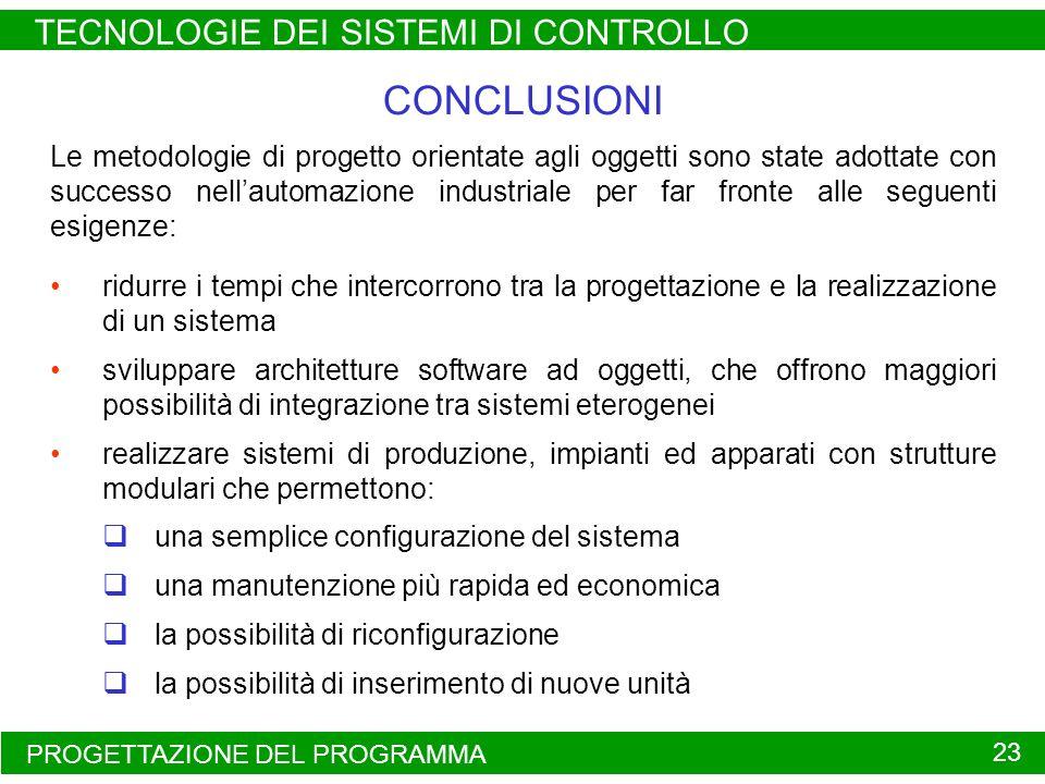 CONCLUSIONI TECNOLOGIE DEI SISTEMI DI CONTROLLO