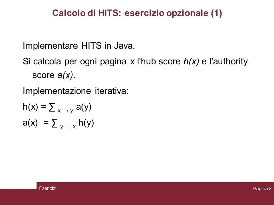 Calcolo di HITS: esercizio opzionale (1)