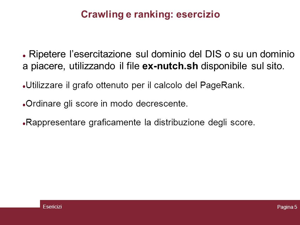 Crawling e ranking: esercizio